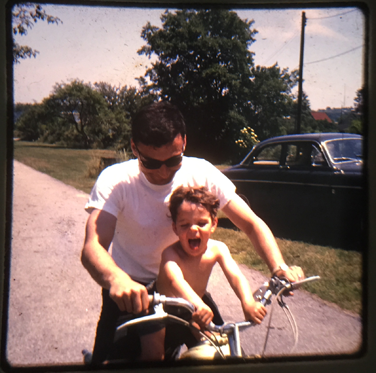 Dad and me on moped